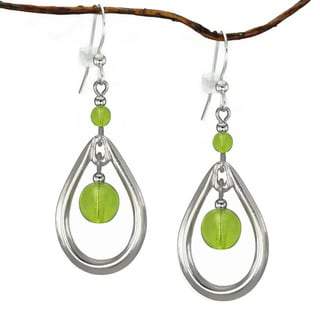Jewelry by Dawn Lime Green Rhodium-plated Open Teardrop Earrings