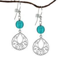 Handmade Jewelry by Dawn Sterling Silver Turquoise Blue Glass Fancy Filigree Teardrop Earrings (USA)