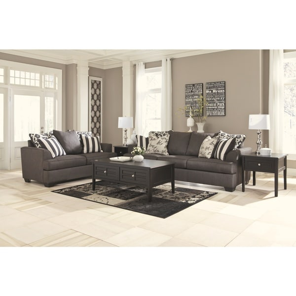 Shop Levon Charcoal Fabric Loveseat Overstock 9434930