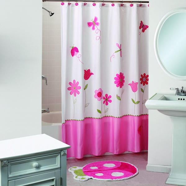 Saturday Knight Butterfly Garden Pink Shower Curtain And Bath Rug Set