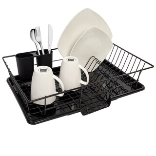 Sweet Home Collection Black Metal/Plastic 3-piece Dish Drainer Set