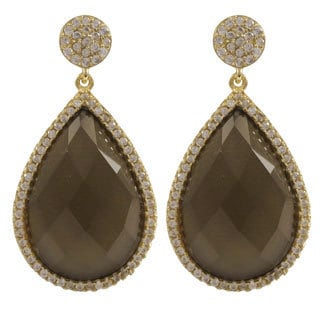 Luxiro Gold Over Sterling Silver Teardrop Gemstone and White Cubic Zirconia Dangle Earrings