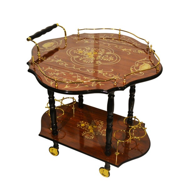 Sorrento Inlaid Wood Inspired Drop Leaf Beverage Serving Cart