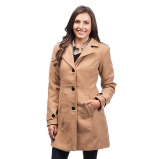 Women's Single Breasted Camel Button-Front Coat