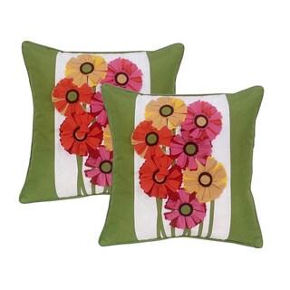 EDIE Laser Gerber Daisy Indoor / Outdoor 18 x 18 Pillows (Set of 2)