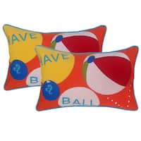 EDIE 'Have a Ball' Indoor/ Outdoor 14 x 21 Pillows (Set of 2)