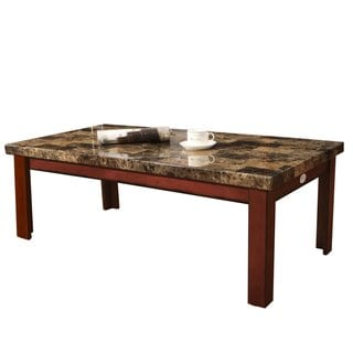 Adeco Coffee Table, Faux Marble Top, Walnut-Color Wood Legs