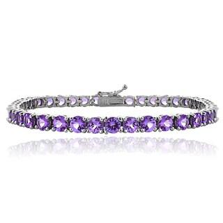 Glitzy Rocks Sterling Silver 10 3/4ct African Amethyst Round Tennis Bracelet