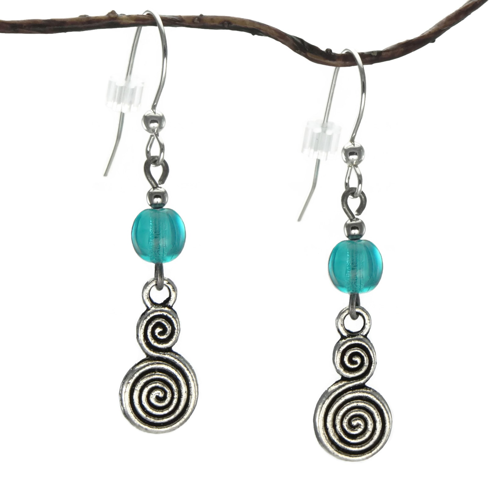 Jewelry by Dawn Turquoise Blue Glass Double Swirl Dangle ...