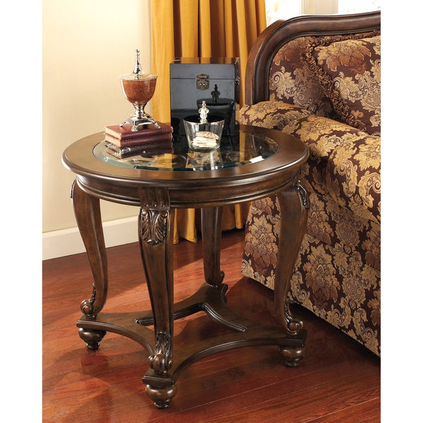Hideout End Table Free Shipping: Signature Design By Ashley 'Norcastle' Dark Brown Round