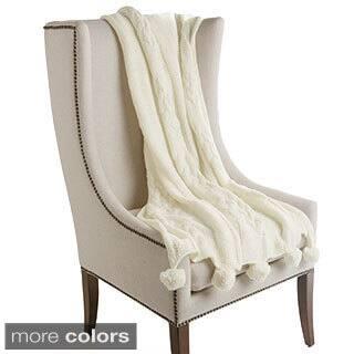 Aurora Home Pom-pom Wool Knit Throw Blanket