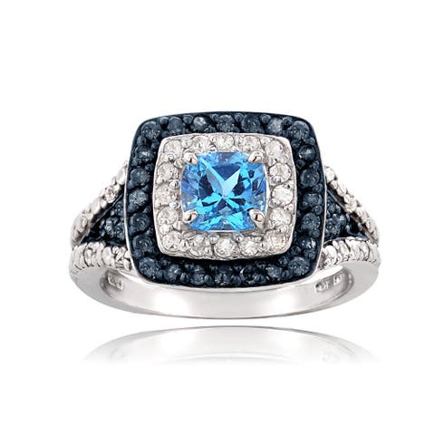 Glitzy Rocks Sterling Silver White 1/2ct TDW Blue Diamond Swiss Blue Topaz Ring (I-J, I2-I3)