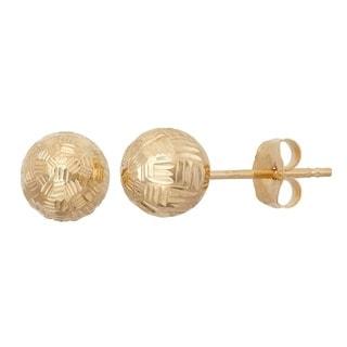 Gioelli 14k Gold 6mm Groove Cut Ball Earrings