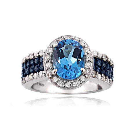 Glitzy Rocks Sterling Silver White And Blue Diamond Swiss Blue Topaz Ring