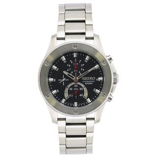 Seiko Men's SPC095 Chronograph Black Dial Stainless Steel Watch