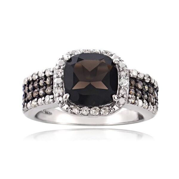 Glitzy Rocks Sterling Silver White And Champagne Diamond Smokey Quartz Ring