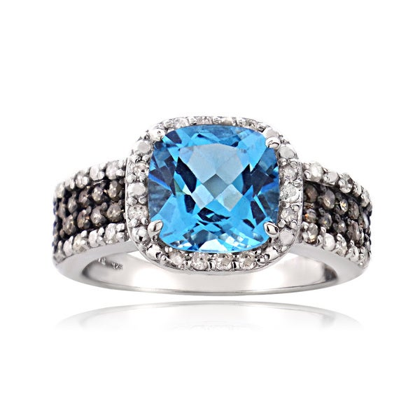 Topaz Engagement Ring 3ct Swiss Blue London Blue Or White In A 14k
