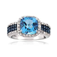 Glitzy Rocks Sterling Silver White And Blue Diamond Swiss Blue Topaz Ring