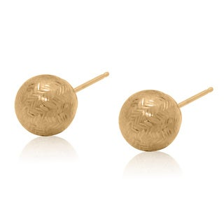 Gioelli 14k Gold 8mm Bold Chevron-cut Ball Earrings