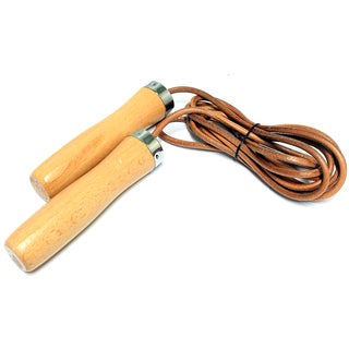 Defender Wood Handle Leather Jump Rope