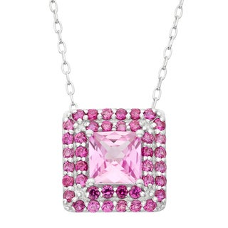 Gioelli Sterling Silver Created Pink Sapphire Created Ruby Square Pendant Necklace