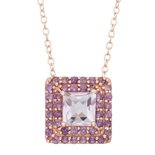 Gioelli Rose Goldplated Sterling Silver Rose De France Amethyst Square Pendant Necklace