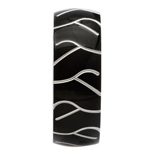 Stainless Steel Mens Black Ion-plated White Line Ring
