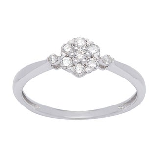 Platinum over Silver 1/4ct TDW White Diamond Cluster Ring (I-J, I1-I2)