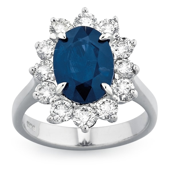 18k White Gold Sapphire 1 1/5ct TDW White Diamond Ring (G-H, SI1-SI2). Opens flyout.
