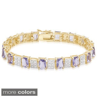 Dolce Giavonna Gold Overlay Simulated Tanzanite Bracelet