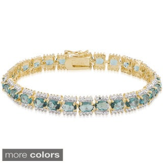 Dolce Giavonna Gold Overlay Simulated London Blue Topaz Bracelet