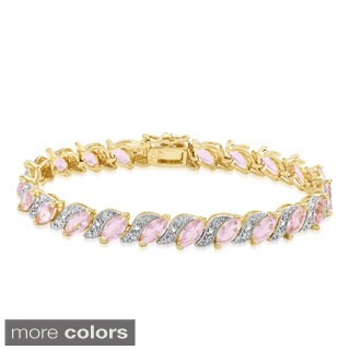 Dolce Giavonna Gold Overlay Simulated Pink Topaz Bracelet
