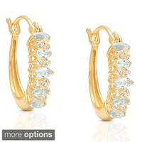 Dolce Giavonna Gold Over Sterling Silver Gemstone and Cubic Zirconia Hoop Earrings