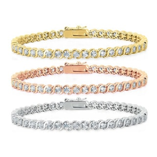Dolce Giavonna Gold Overlay Cubic Zirconia Tennis Style Bracelet