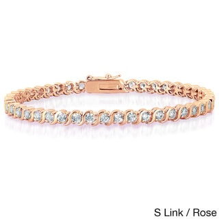 Dolce Giavonna Gold Or Silver Overlay Cubic Zirconia Tennis Style Bracelet in Red Bow Gift Box