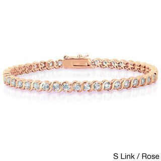 Dolce Giavonna Gold Overlay Cubic Zirconia Tennis Style Bracelet (More options available)