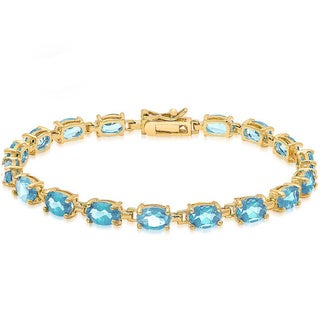 Dolce Giavonna 14k Gold-over-Sterling Silver Gemstone Tennis Style Bracelet in Red Bow Gift Box