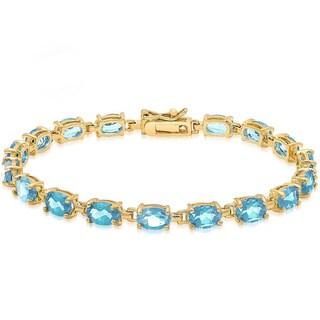 Dolce Giavonna 14k Gold-over-Sterling Silver Gemstone Tennis Style Bracelet - Gold