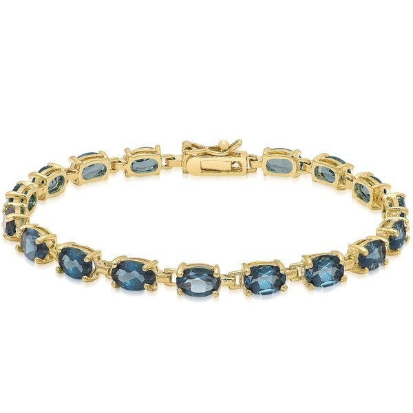 Dolce Giavonna Sterling Silver London Blue Topaz Tennis Style Bracelet in Red Bow Gift Box