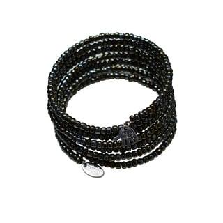 Pink Box Bead Jeweled Stainless Steel Dark/ Khaki Expandable Wraparound 7-day Charm Bracelet