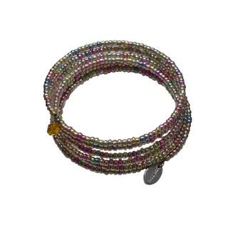 Pink Box Bead Jeweled Stainless Steel Orange Bicone Crystal Expandable Wraparound 7-day Bracelet