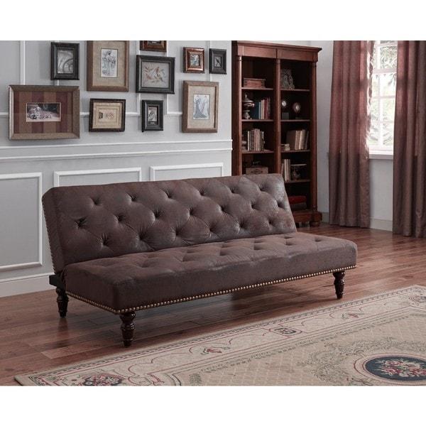 dhp charleston brown vintage futon dhp charleston brown vintage futon   free shipping today      rh   overstock