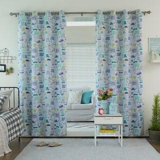 Aurora Home Car Print Room Darkening Grommet Curtain Panel Pair