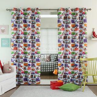 Aurora Home Truck Print Room Darkening Grommet Curtain Panel Pair