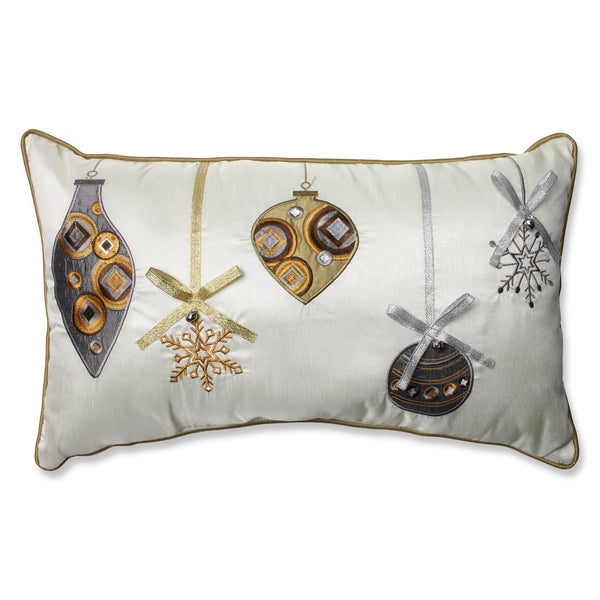 Pillow Perfect Holiday Ornaments Gold/Silver Rectangular Throw Pillow - Free Shipping On Orders ...