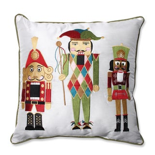 Pillow Perfect Holiday Embroidered Nutcrackers Red/Green 16.5-inch Throw Pillow