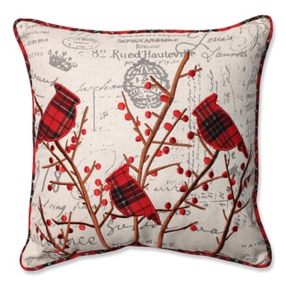Pillow Perfect Holiday Embroidered Cardinals 16.5-inch Throw Pillow