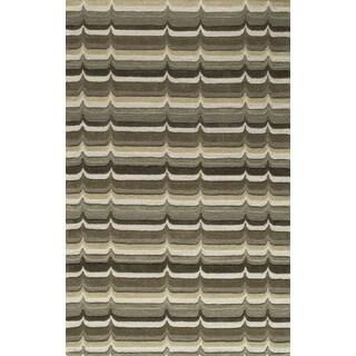 Saronic Waves Sage Hand-Tufted Wool Rug (2' x 3')