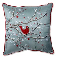 Pillow Perfect Holiday Cardinal on Snowy Branch 16.5-inch Throw Pillow