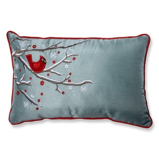 Pillow Perfect Holiday Cardinal on Snowy Branch Rectangular Throw Pillow